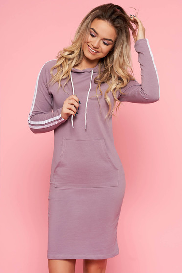 SunShine purple daily long sleeve dress slightly elastic cotton with pockets