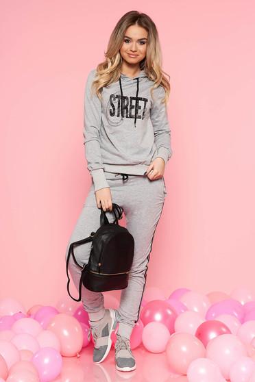 SunShine grey casual set slightly elastic cotton with crystal embellished details with elastic waist