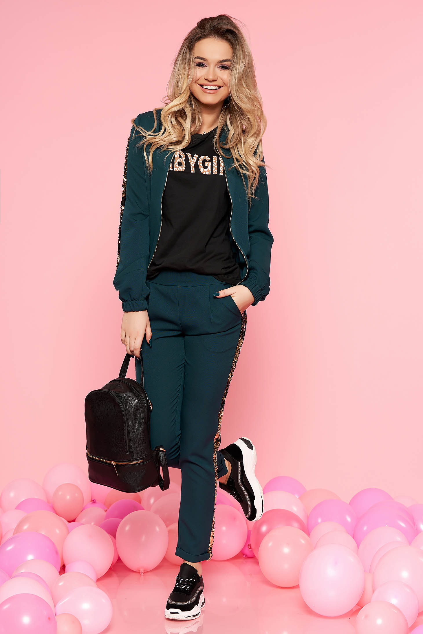 SunShine darkgreen set casual slightly elastic cotton with sequin embellished details with pockets