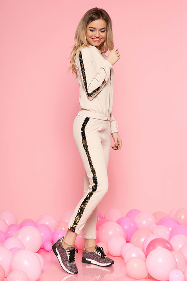 SunShine cream set casual slightly elastic cotton with sequin embellished details with pockets