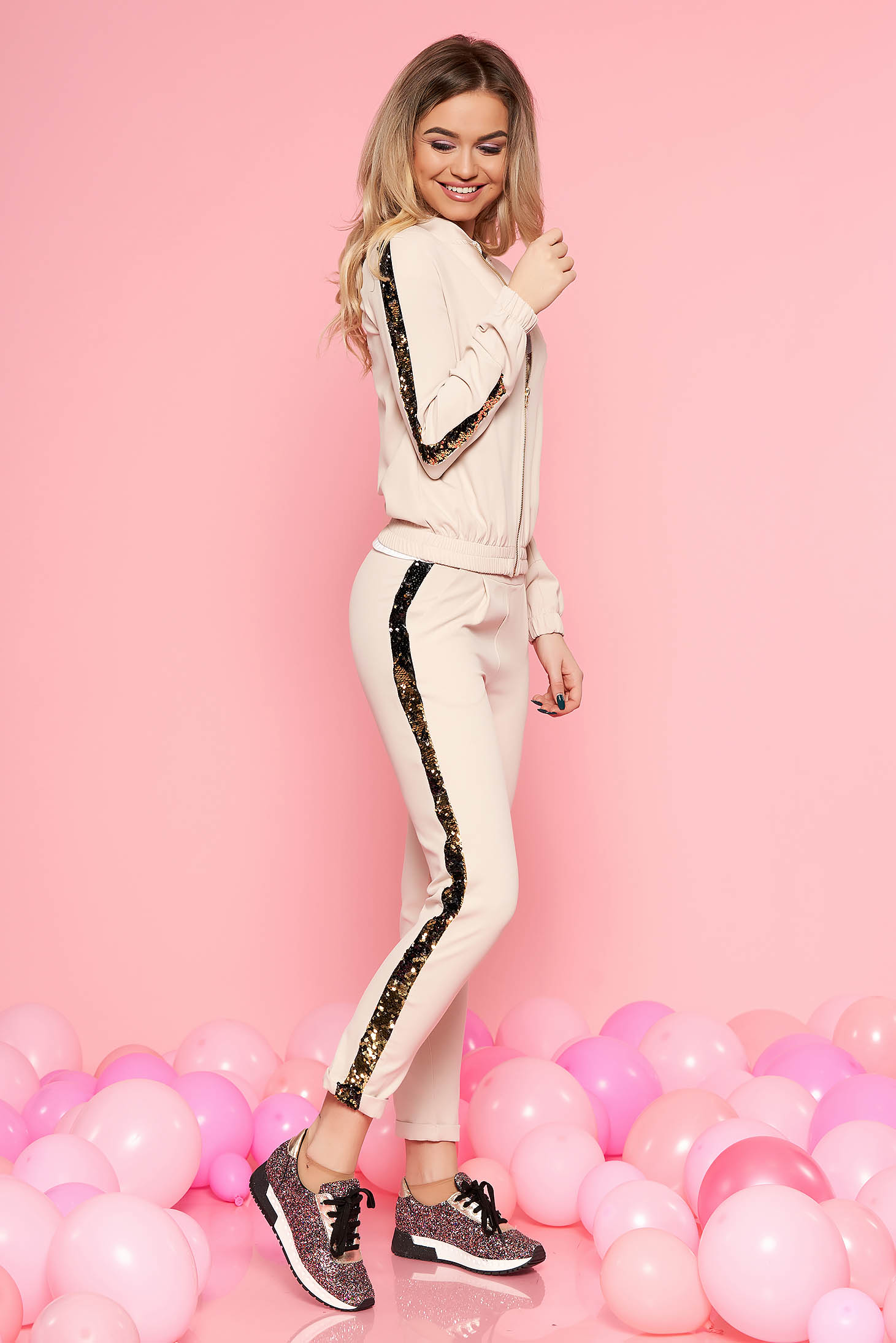 SunShine cream casual set with sequin embellished details with pockets