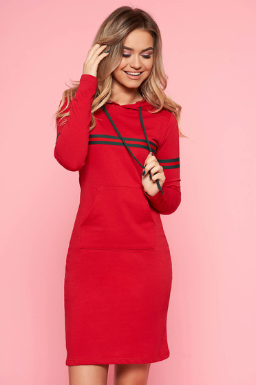 SunShine red casual dress slightly elastic cotton with undetachable hood with front pockets