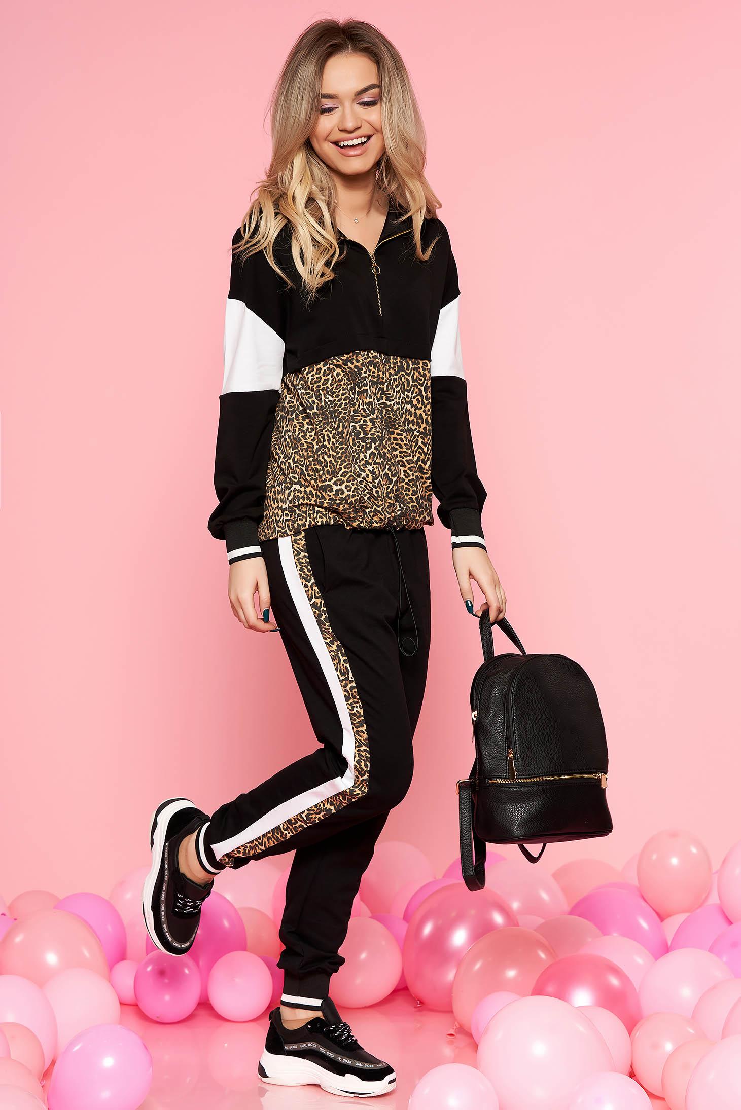 Fekete SunShine casual szett enyhén elasztikus pamut leopárd minta zsebes nadrág