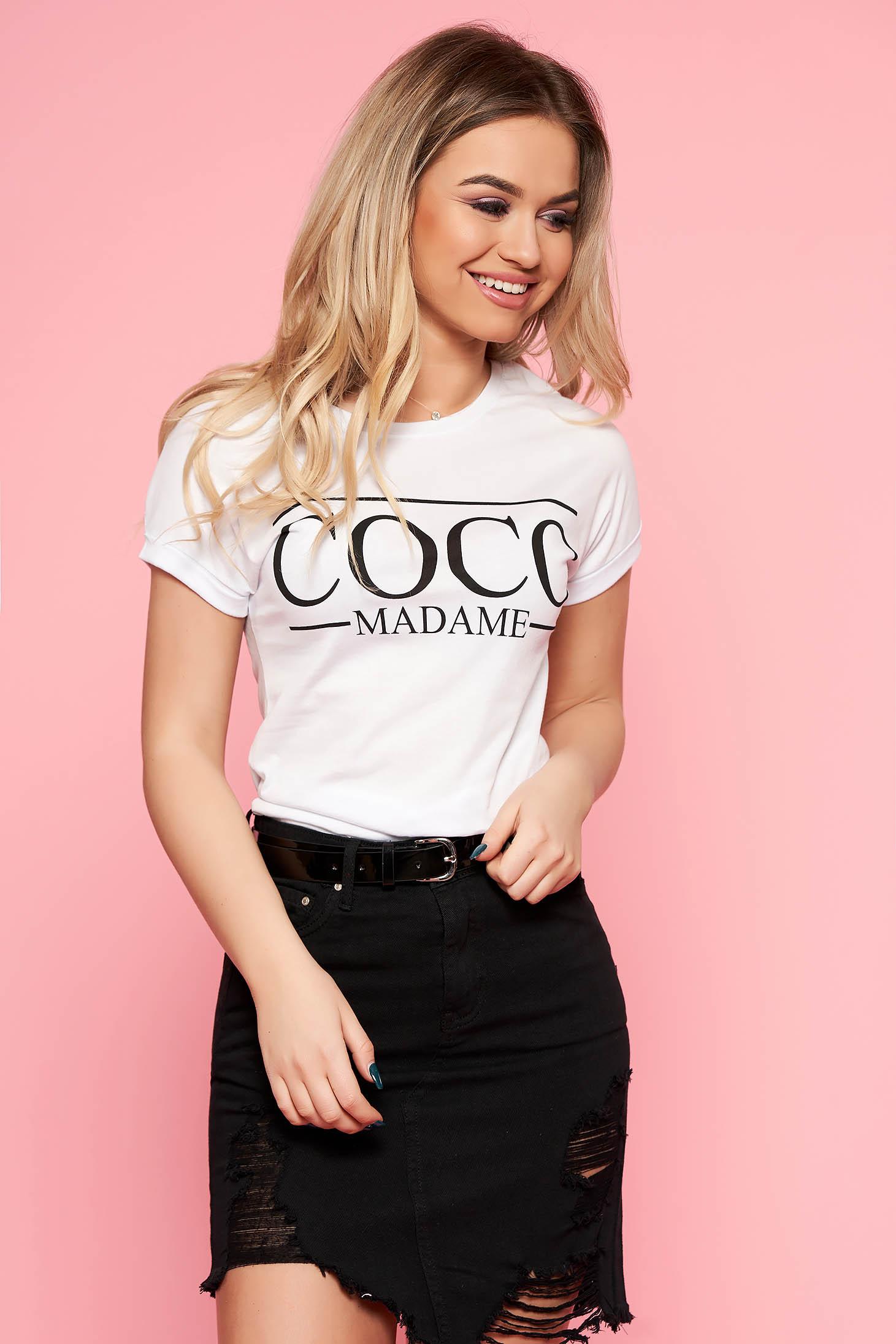 SunShine white casual short cut t-shirt slightly elastic cotton with writing print