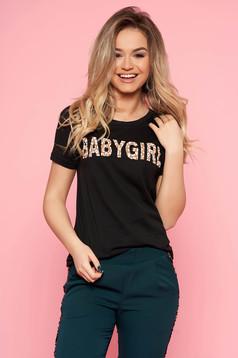 SunShine black casual t-shirt slightly elastic cotton with writing print