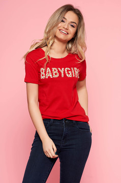 SunShine red casual t-shirt slightly elastic cotton with writing print