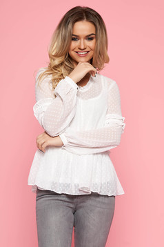 Top Secret white casual flared women`s blouse transparent fabric with inside lining with v-neckline