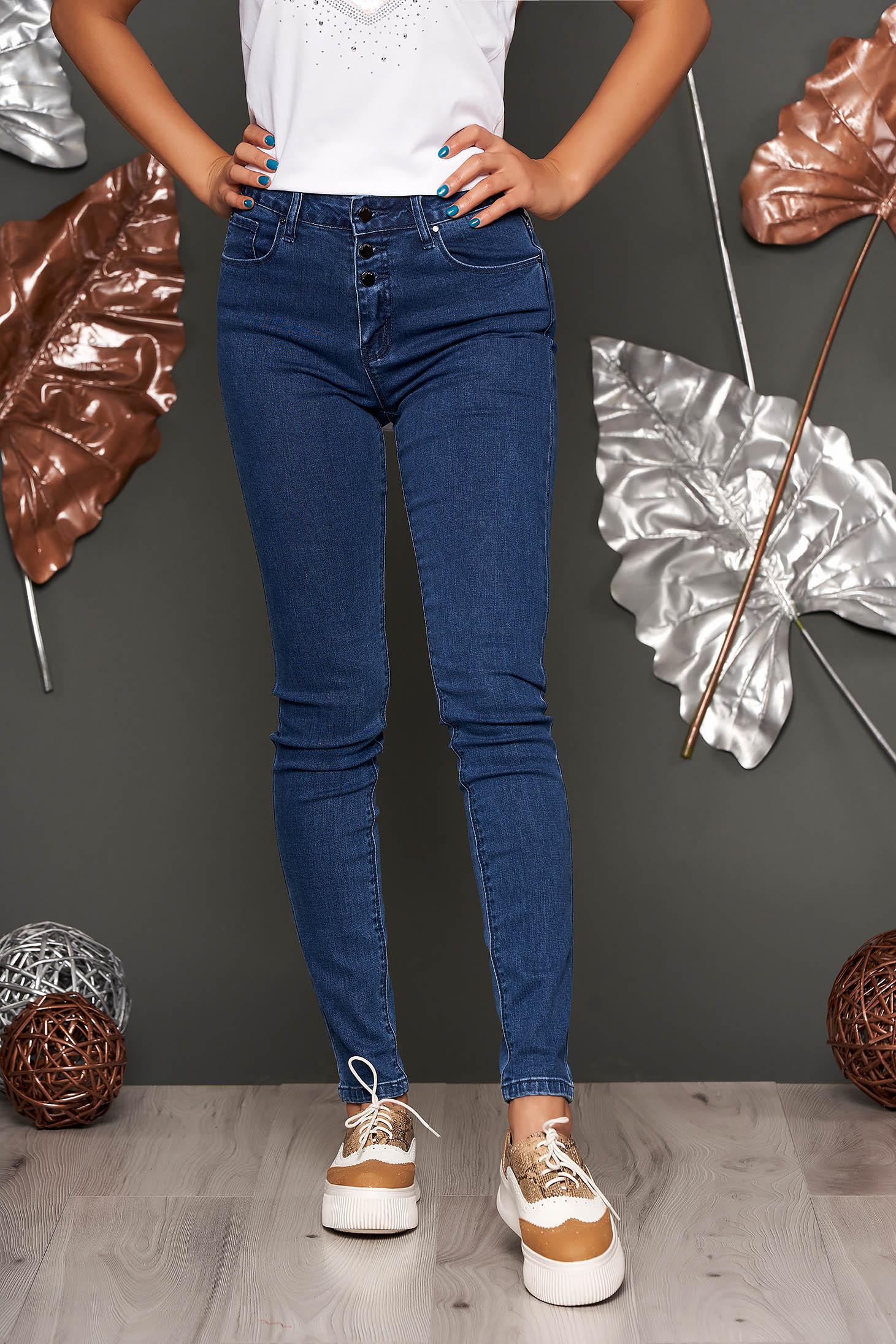 Blugi Top Secret albastru-inchis casual skinny cu talie medie din bumbac usor elastic cu buzunare