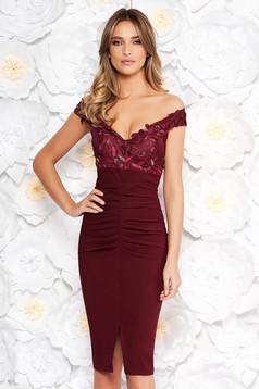 Artista burgundy occasional midi pencil dress off shoulder slightly elastic fabric with sequin embellished details
