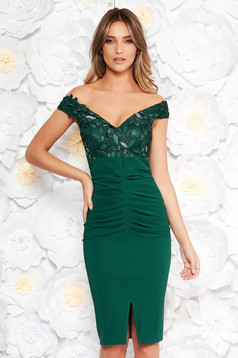 Artista green occasional midi pencil dress off shoulder slightly elastic fabric with sequin embellished details