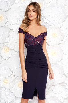 Artista purple occasional midi pencil dress off shoulder slightly elastic fabric with sequin embellished details