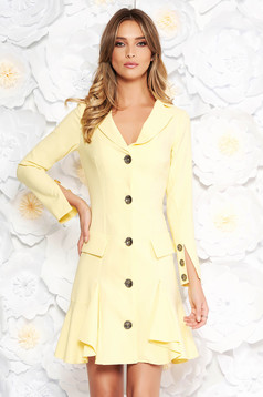 Artista yellow elegant dress slightly elastic fabric arched cut with ruffles at the buttom of the dress