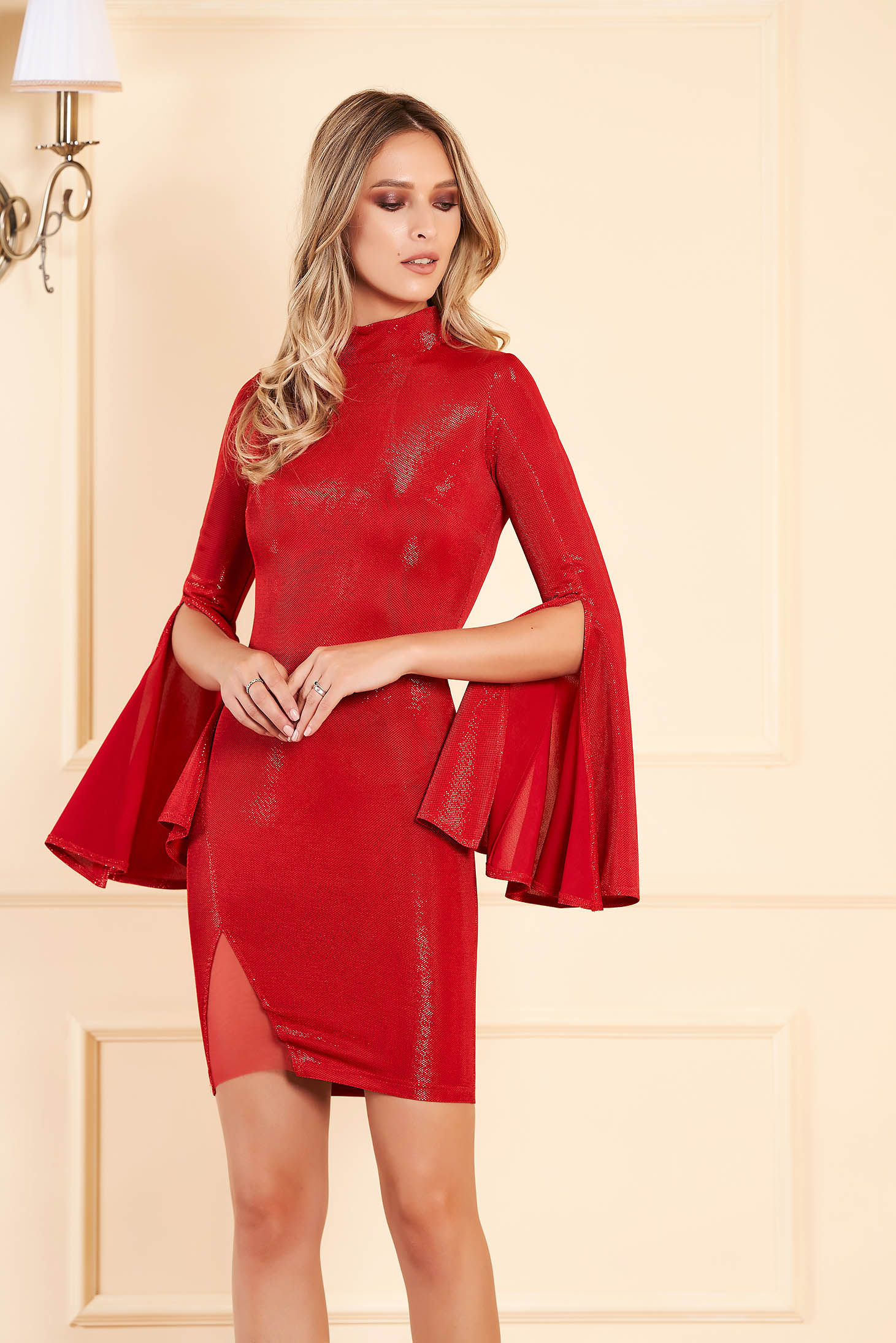 Artista red dress short cut with bell sleeve from shiny fabric clubbing