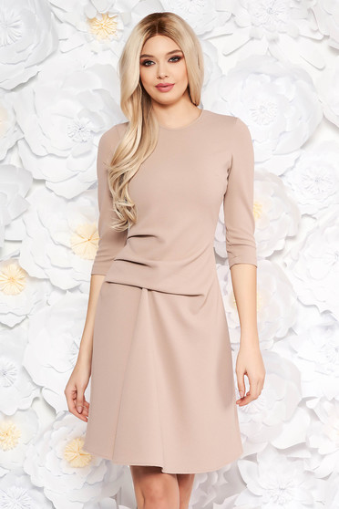 StarShinerS brown daily midi dress slightly elastic fabric with inside lining 3/4 sleeve