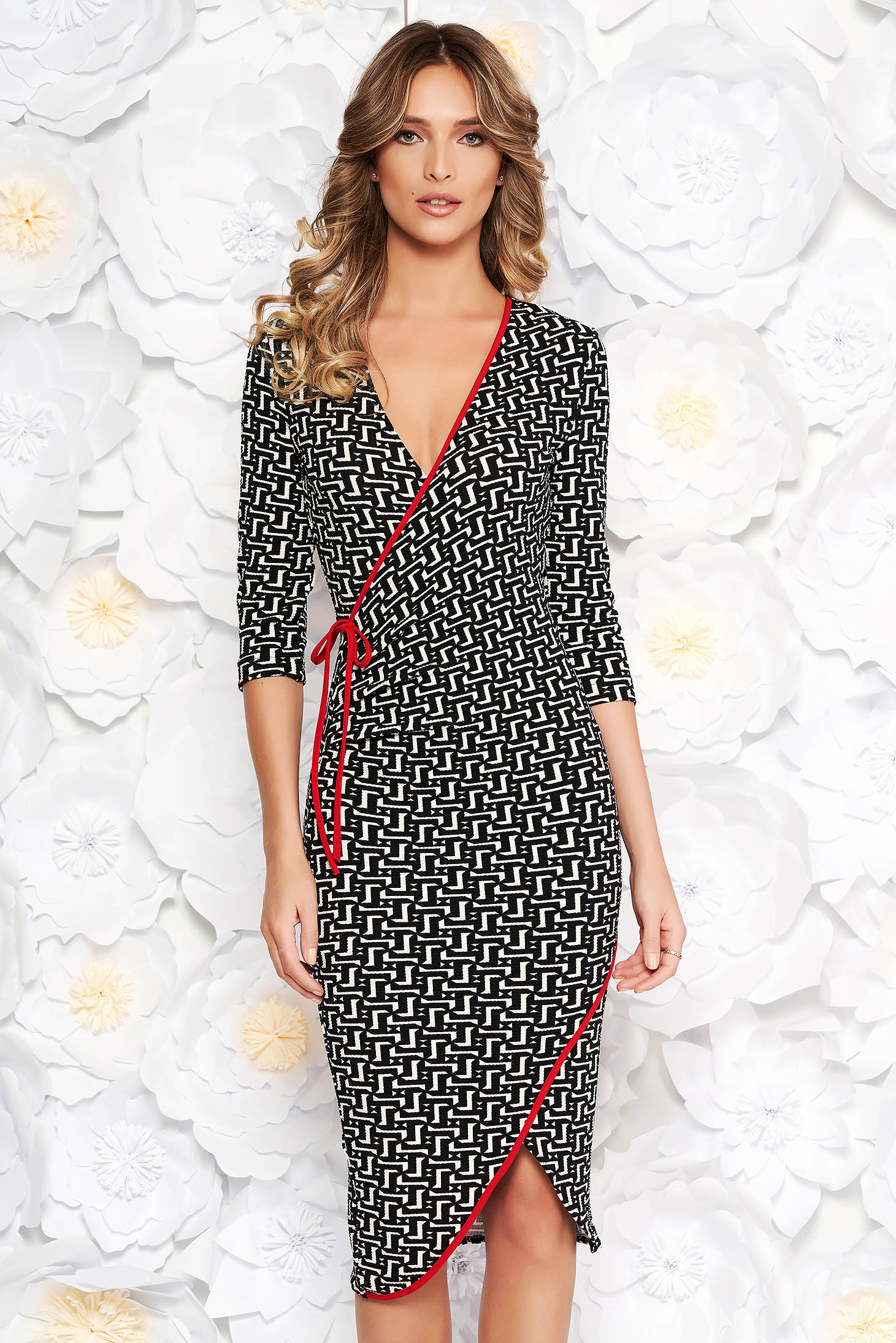 StarShinerS office white wrap around dress slightly elastic fabric with v-neckline with tented cut
