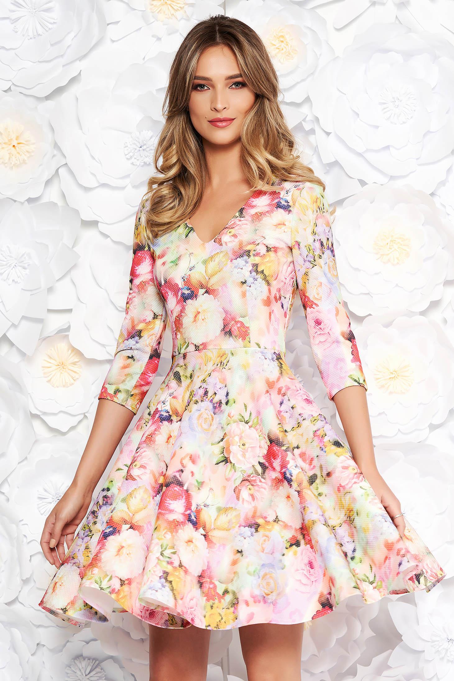 Rózsaszínű StarShinerS hétköznapi harang ruha enyhén rugalmas anyag virágmintás díszítéssel
