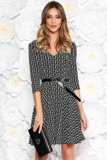 StarShinerS black office cloche dress slightly elastic fabric with geometrical print