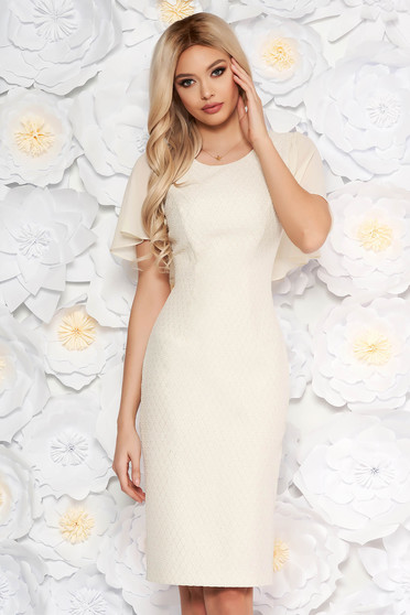 Nude elegant midi pencil dress from jacquard with inside lining