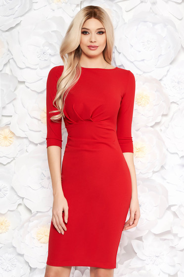 StarShinerS red office dress with tented cut slightly elastic fabric with 3/4 sleeves