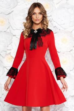 Red elegant cloche dress slightly elastic fabric with inside lining with lace details