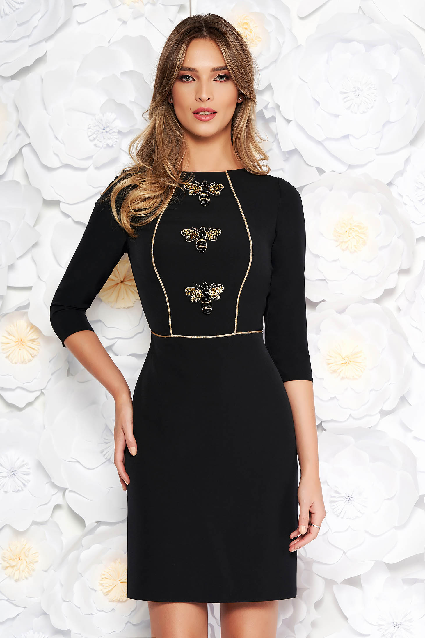 Black elegant pencil dress slightly elastic fabric with inside lining with sequin embellished and embroidery details