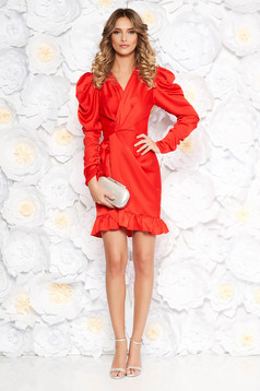 Ana Radu red luxurious dress with tented cut from satin fabric texture with v-neckline with ruffles at the buttom of the dress