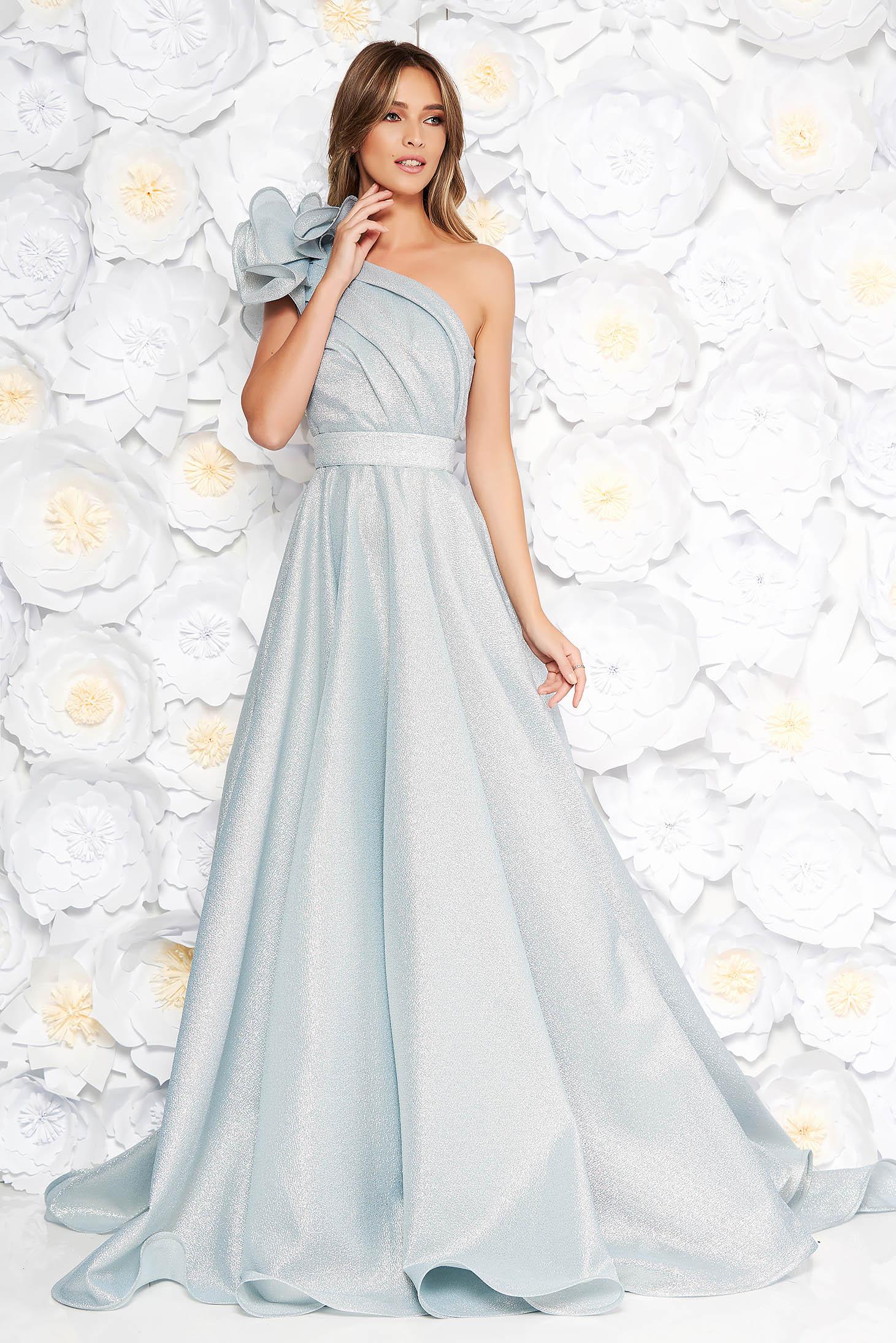 Ana Radu lightblue luxurious cloche dress nonelastic fabric with metallic aspect with inside lining with ruffle details