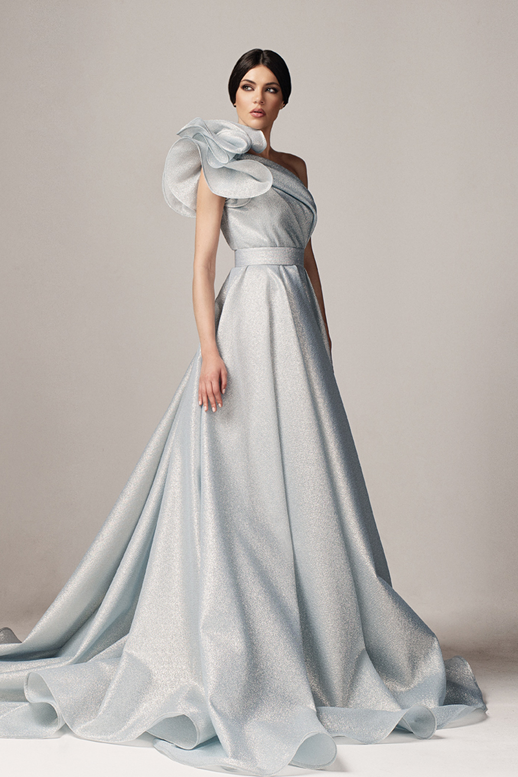 Ana Radu lightblue luxurious cloche dress nonelastic fabric with metallic aspect with inside lining with ruffle details