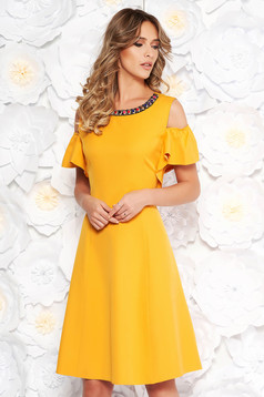Mustard daily cloche dress soft fabric metallic details both shoulders cut out