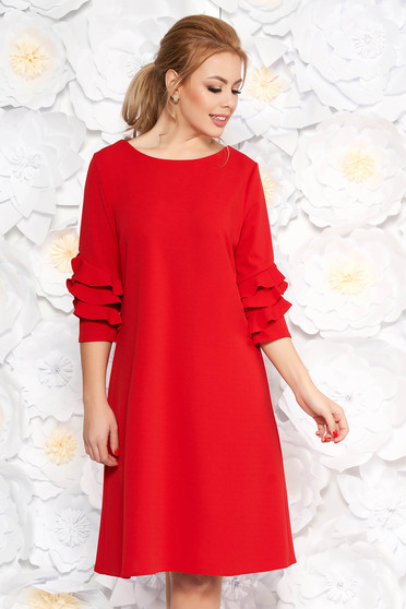 Red elegant flared dress slightly elastic fabric with ruffled sleeves