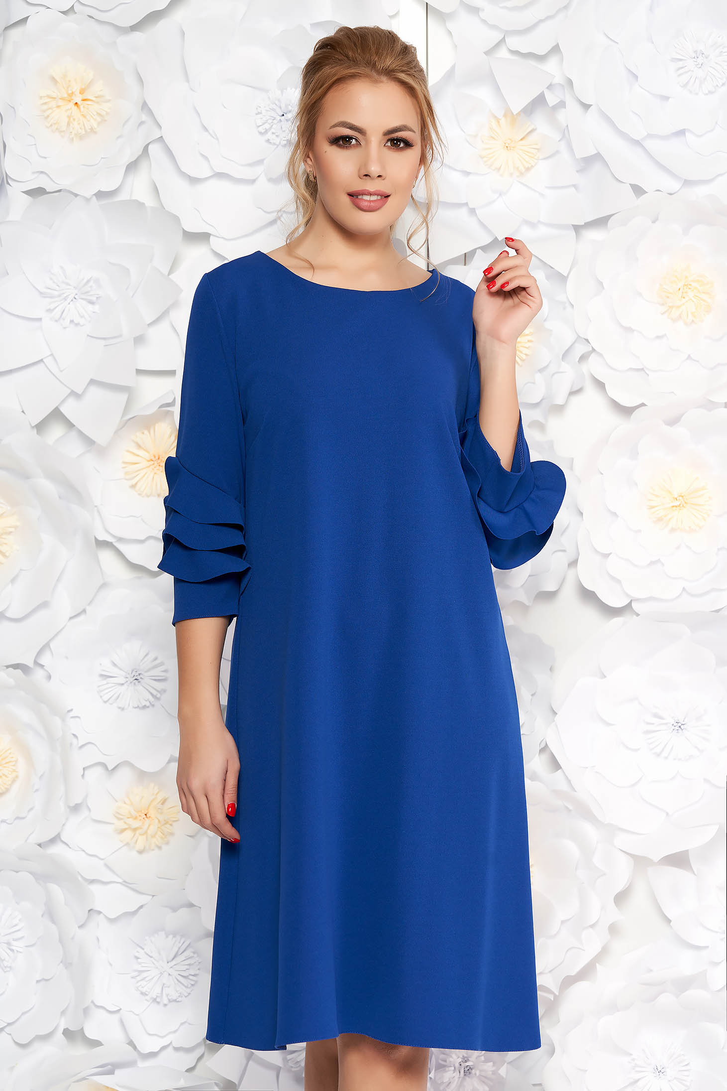 Blue elegant flared dress slightly elastic fabric with ruffled sleeves
