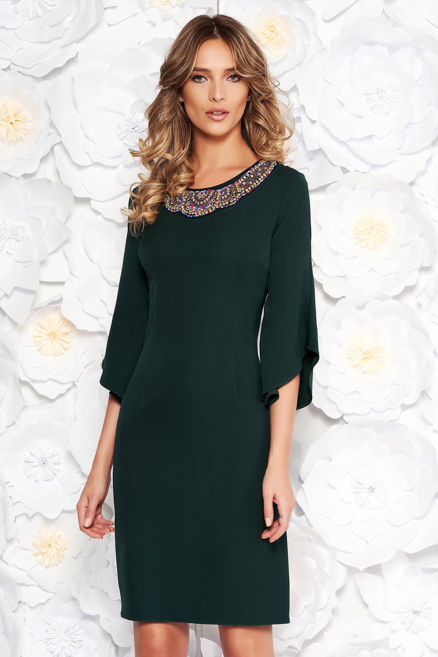 Darkgreen elegant pencil dress slightly elastic fabric with 3/4 sleeves with small beads embellished details