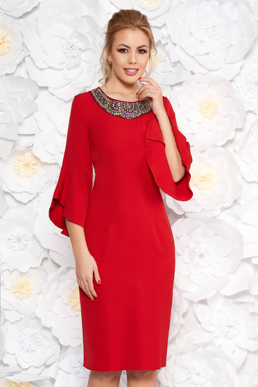 Red elegant pencil dress slightly elastic fabric with 3/4 sleeves with small beads embellished details