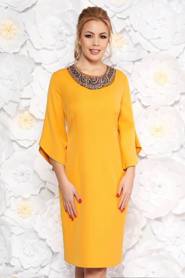 Mustard elegant pencil dress slightly elastic fabric with 3/4 sleeves with small beads embellished details