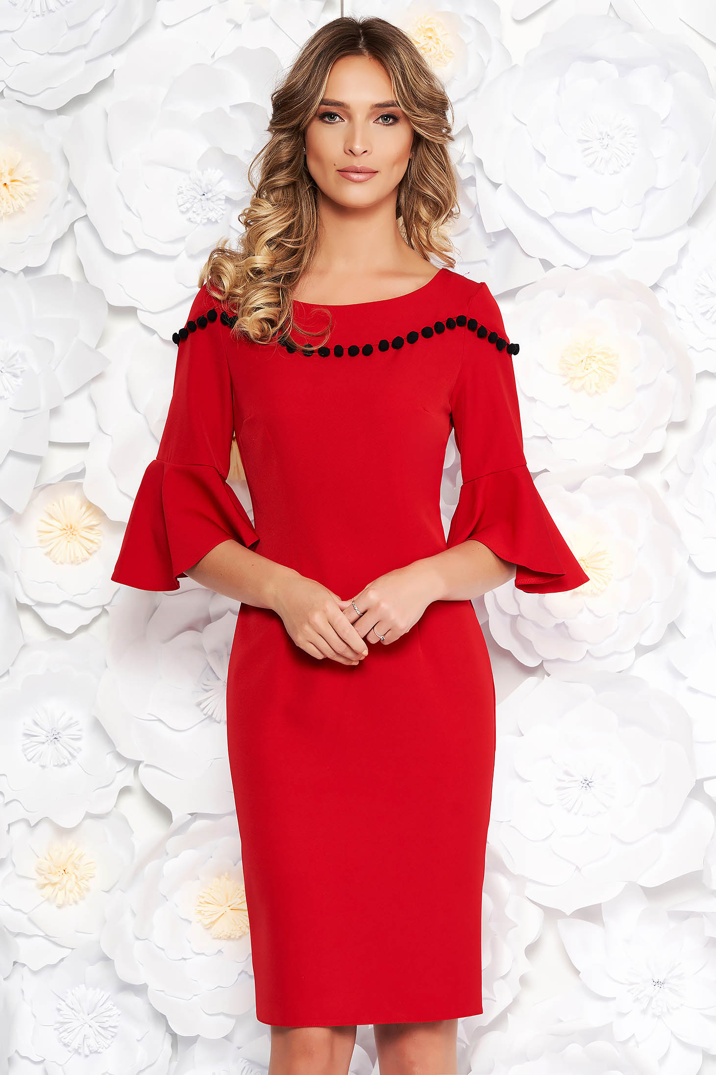 Red elegant pencil dress soft fabric with bell sleeve with tassels