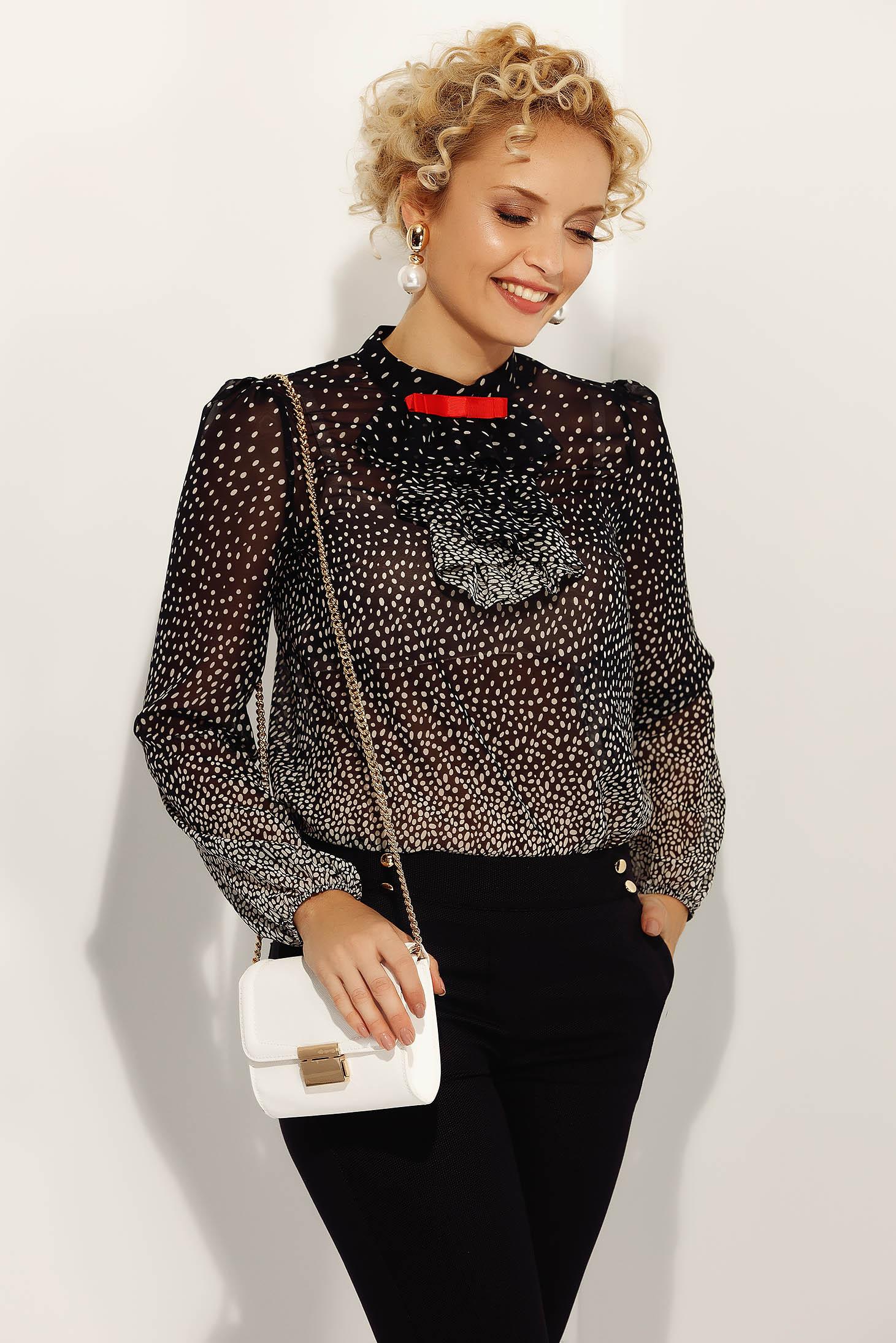 Fofy black elegant flared women`s blouse thin fabric