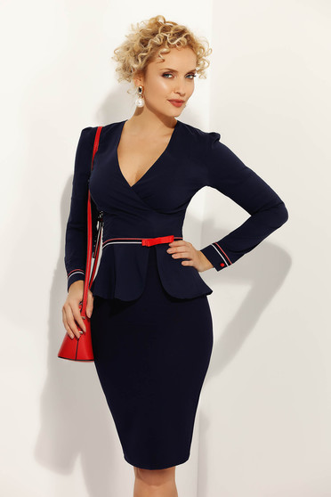 Fofy darkblue office women`s shirt with tented cut slightly elastic cotton accessorized with tied waistband