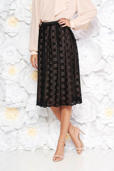 StarShinerS black elegant high waisted cloche skirt laced with inside lining