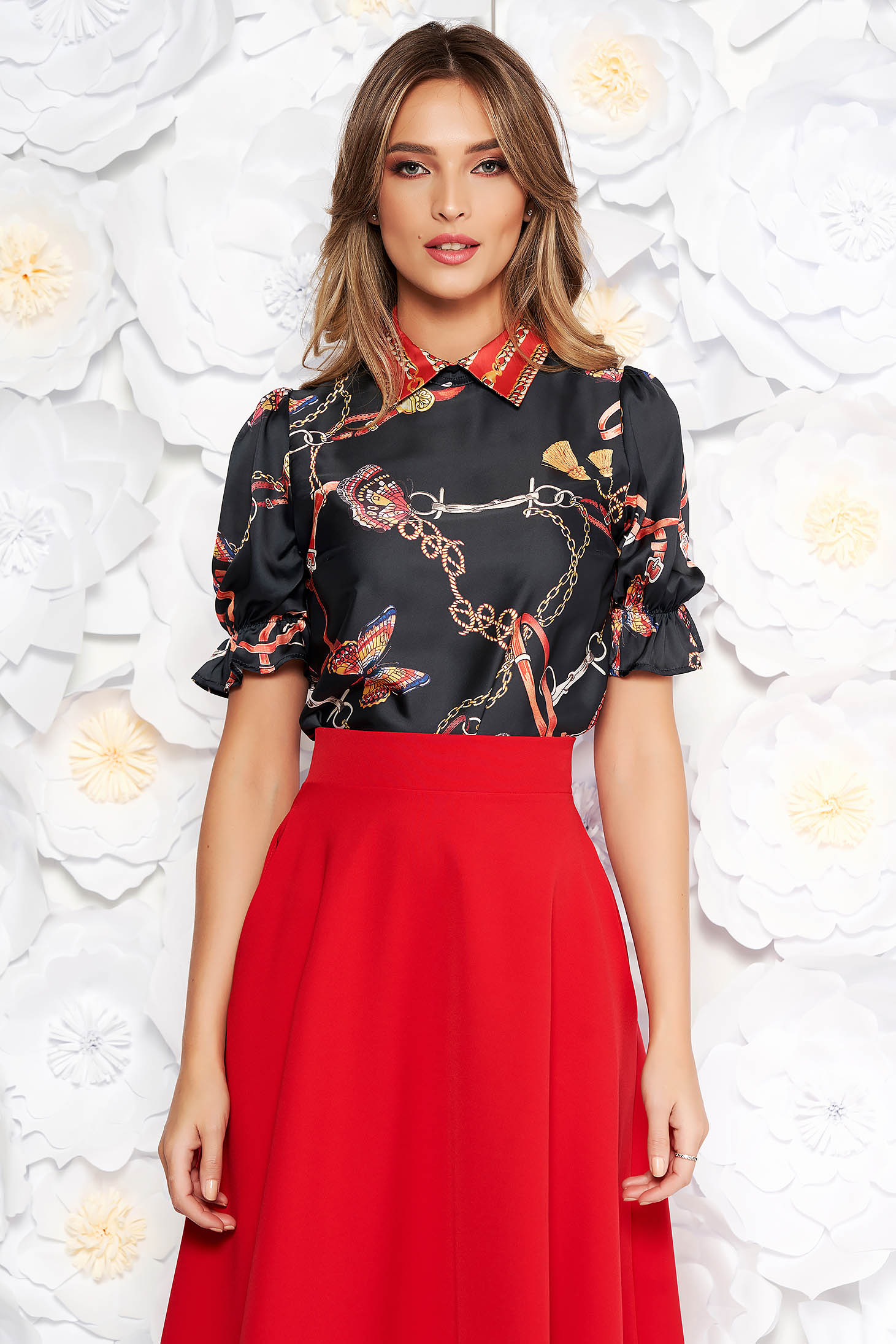 PrettyGirl black elegant flared women`s blouse short sleeve from satin fabric texture with graphic details