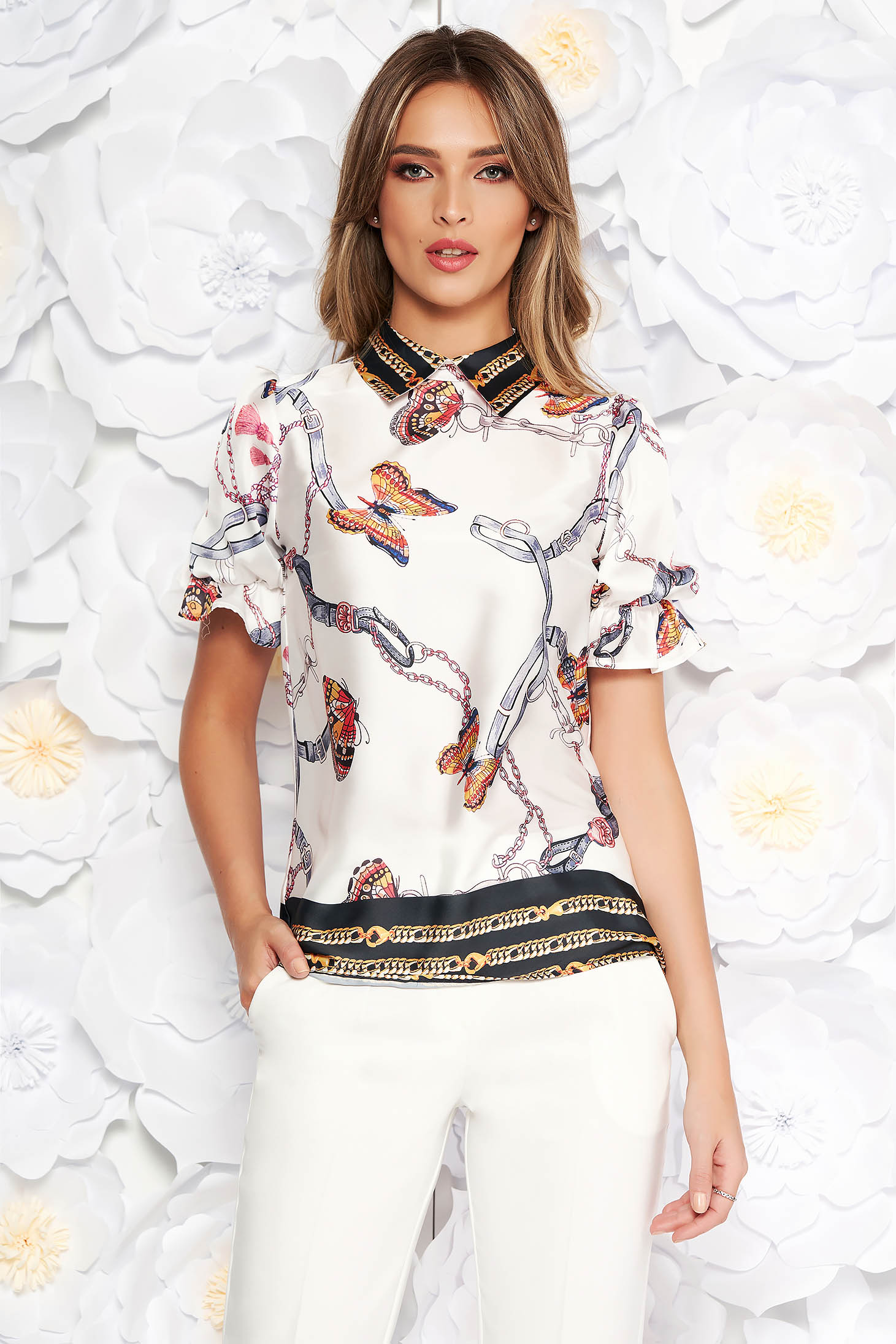 PrettyGirl white elegant flared women`s blouse short sleeve from satin fabric texture with graphic details