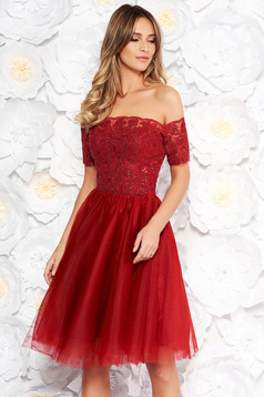 Burgundy Artista occasional cloche dress from laced fabric and net with push-up cups with sequin embellished details