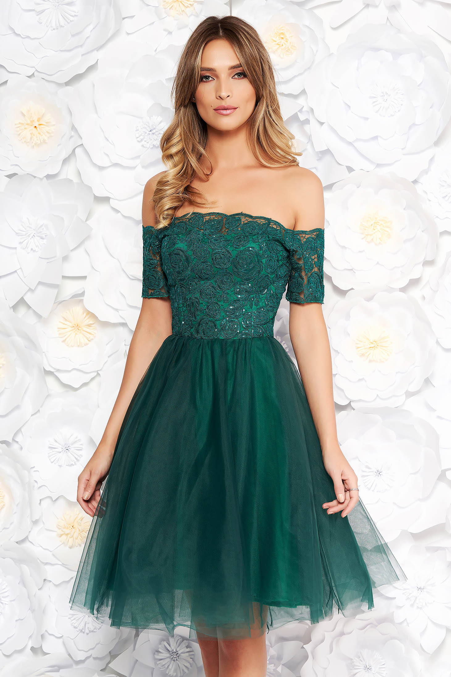 Green Artista occasional cloche dress from laced fabric net with push-up cups with sequin embellished details