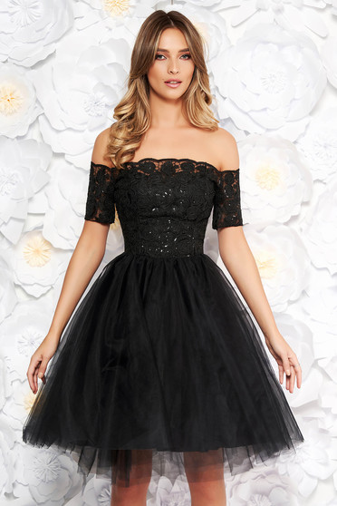 Black Artista occasional cloche dress from laced fabric net with push-up cups with sequin embellished details