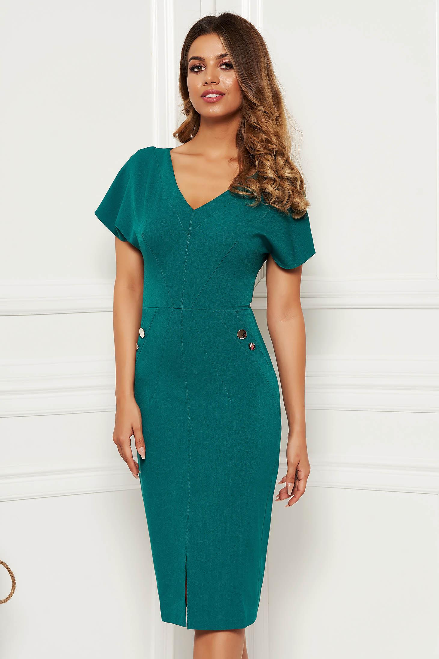Rochie verde office midi tip creion din stofa usor elastica captusita pe interior accesorizata cu nasturi