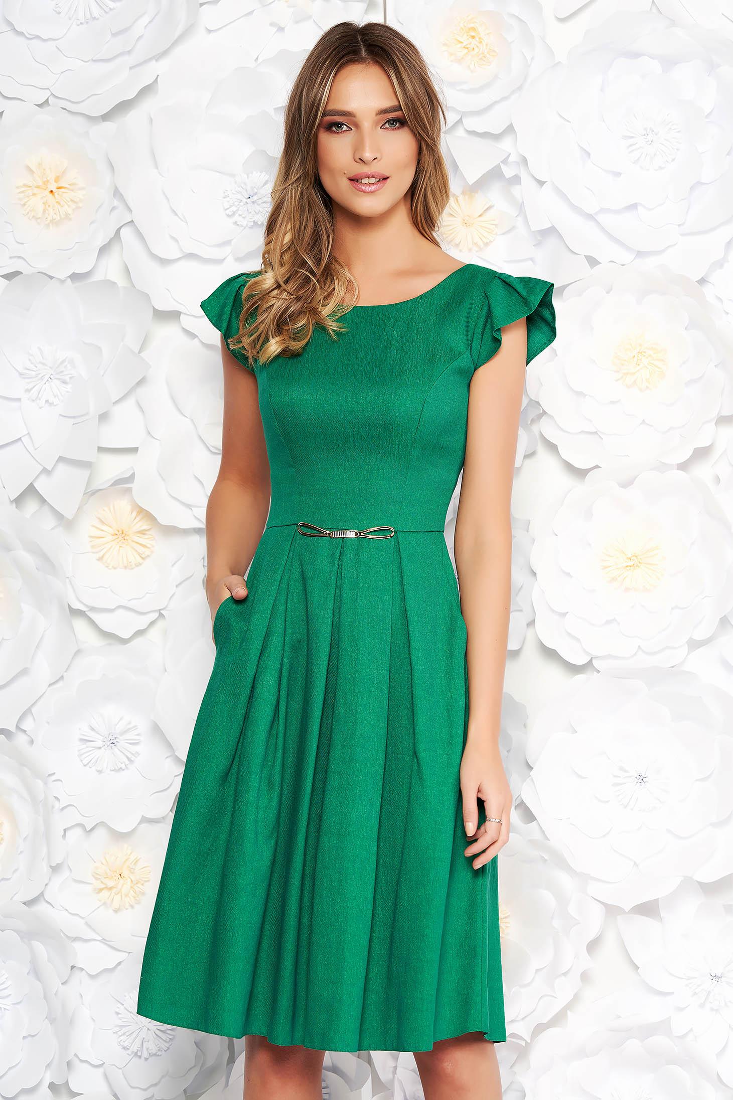 Green daily cloche dress from non elastic fabric with pockets short sleeves