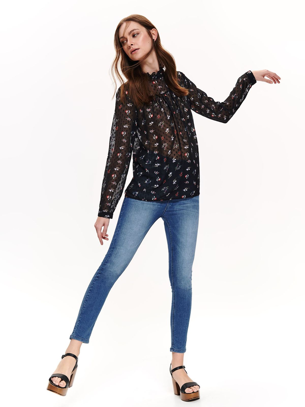 Top Secret black casual flared women`s blouse thin fabric with floral prints