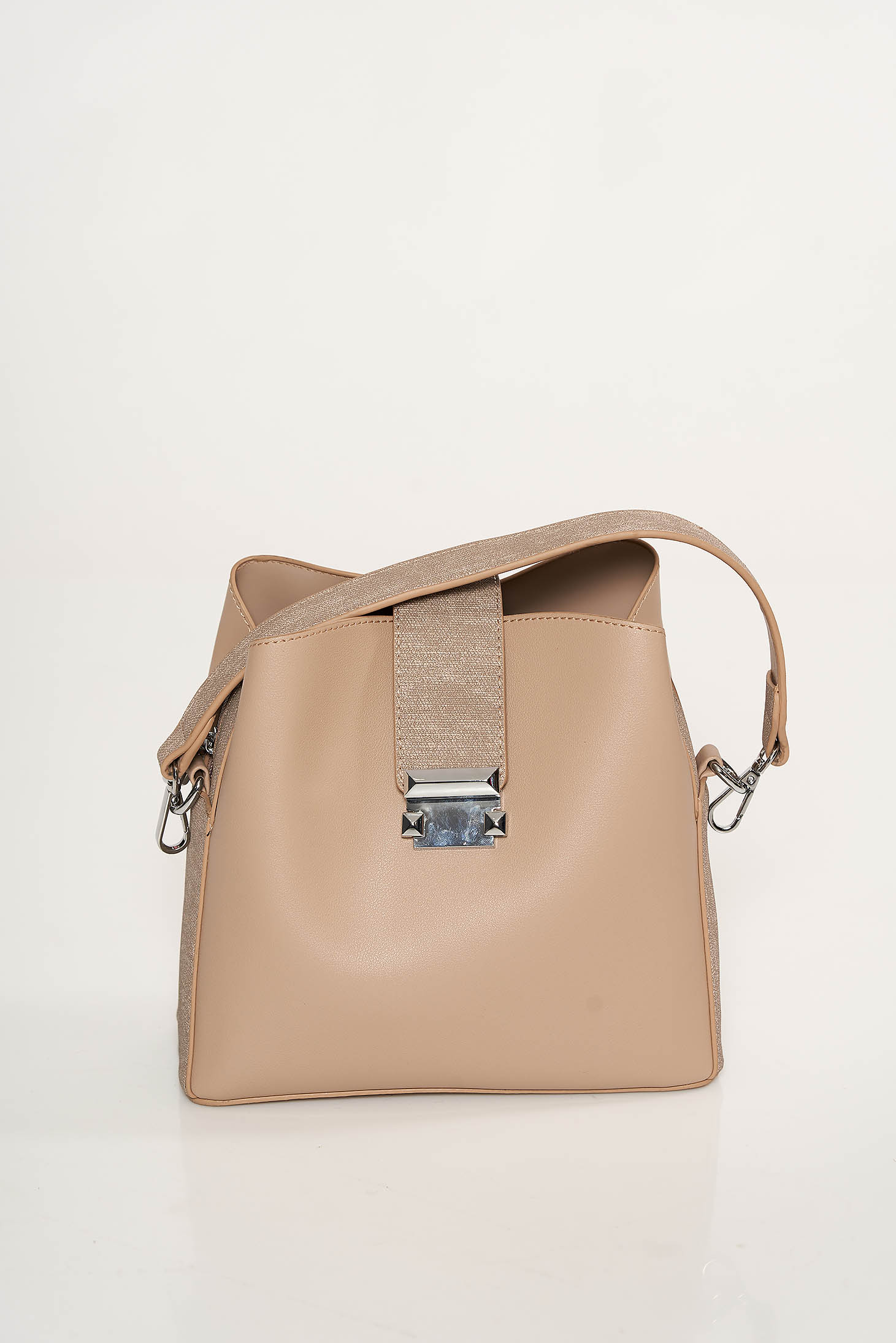 Cream bag from ecological leather metallic buckle