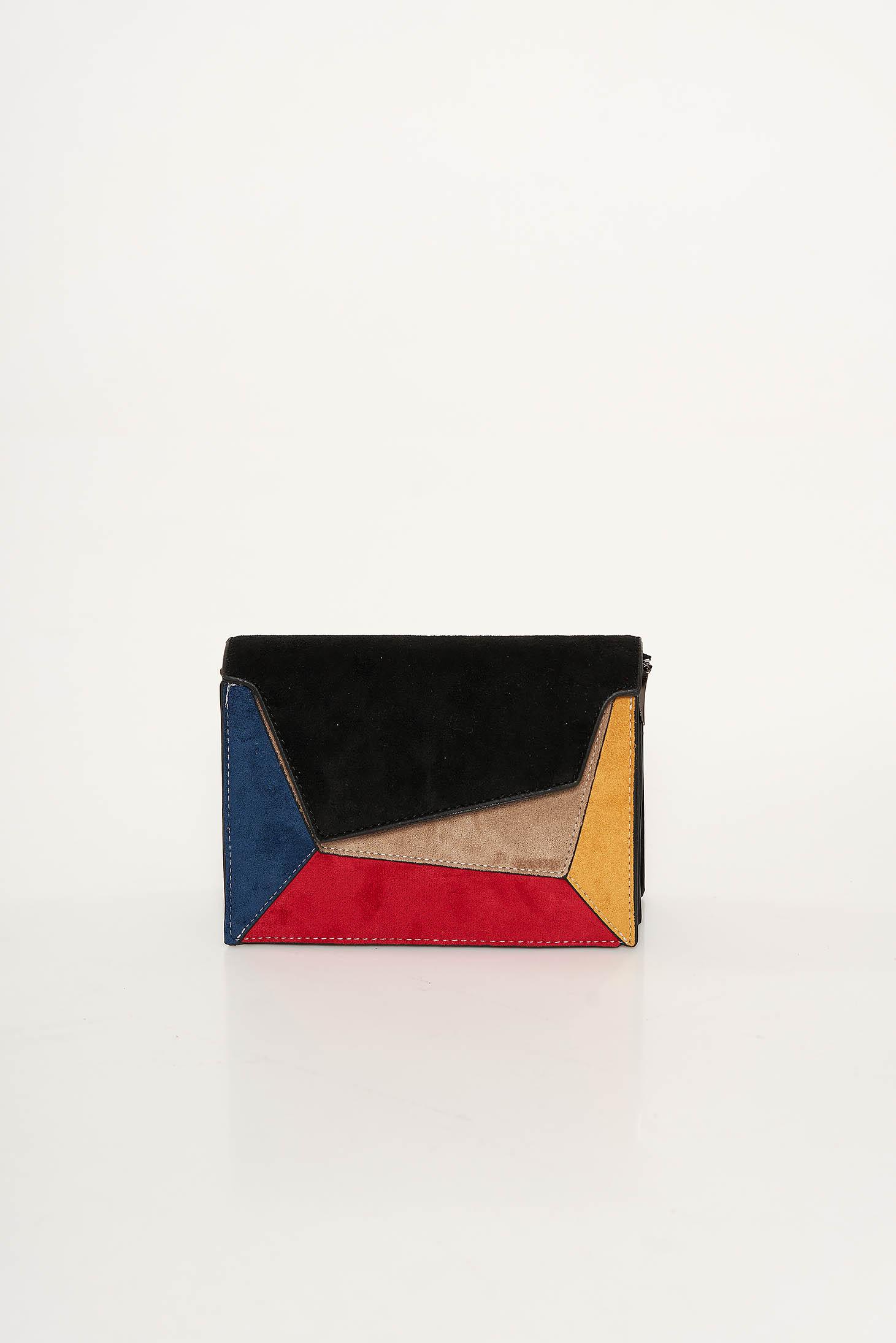 Fekete casual táska szintetikus fordított bőr felsőrész