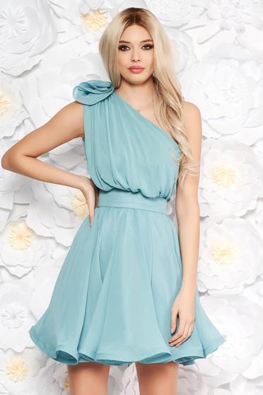 Ana Radu aqua dress luxurious from veil fabric with inside lining cloche accessorized with tied waistband