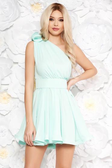 Ana Radu mint dress luxurious from veil fabric with inside lining cloche accessorized with tied waistband